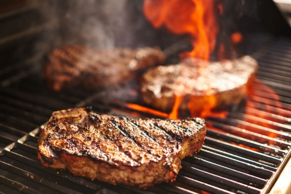 Japanese Wagyu Steaks on grill